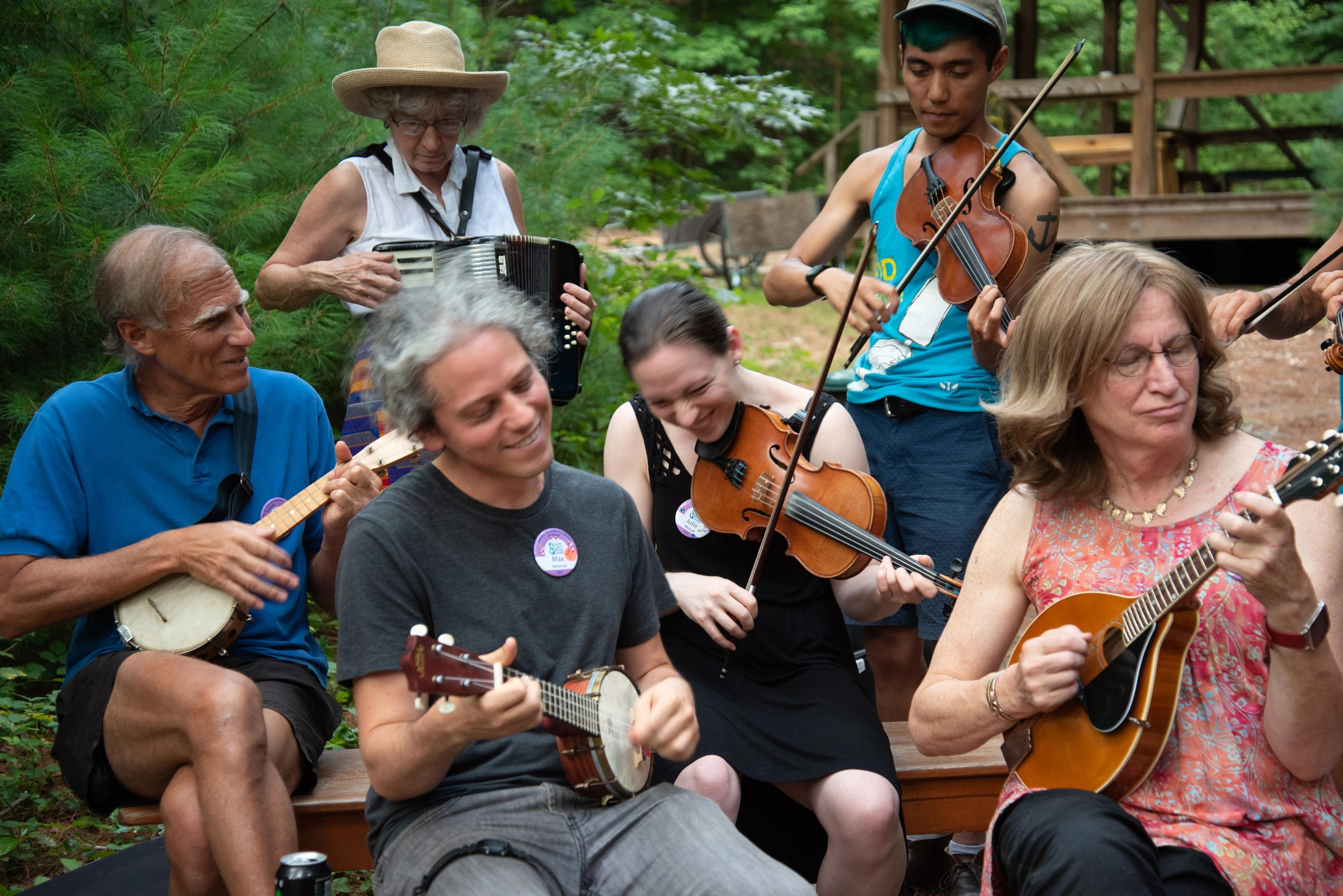 Staff and campers jamming together