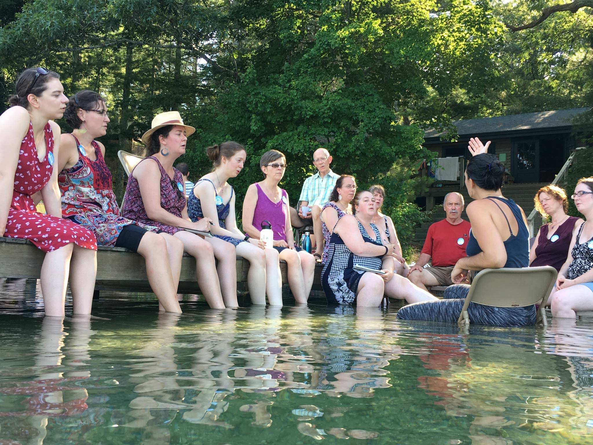 A singing class in the pond